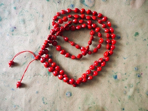 108 Bead Knotted Red Heart Seed Mala