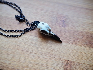 Resin Raven Crow Bird Skull Pendant on Black 18 Inch Chain Gothic Taxidermy Faux Bone
