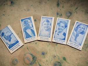 Five Vintage Movie Star Weight Machine Fortune Cards from Canada Rhodes Mfg.