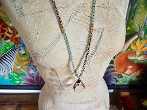 Boho 32 Inch Knotted Crystal and Beaded Necklace with Soldered Teardrop Crystal Pendant in Choice of Colors