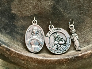 St Agatha Patron Saint of and Protector From Breast Cancer Medal Charm-Choose from Three Designs