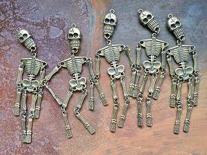 5 Pcs Articulated Antique Bronze Skeleton Pendants