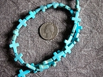 Full Strand Turquoise Howlite Tiny 12x16mm Cross Beads