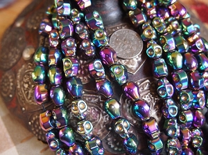 Full Strand of Shiny Rainbow Titanium-plated Non-Magnetic Hematite Skull Beads