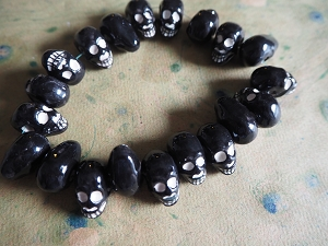 Glazed Black Porcelain Ceramic Skull Bead with Horizontal Hole