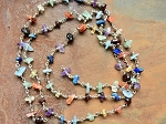 ONE METER Chakra Handmade Gemstone Chip Beads Rosary Chain with Silver Beads and Links