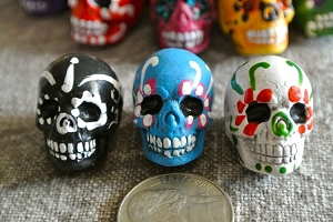 Large Painted Day of the Dead Skull Bead Assorted