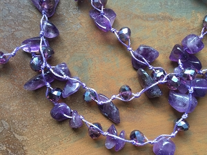 34.6 inch Semi-Precious Gemstone Chip Beads Knotted With Faceted Glass Beads Necklace-Four Choices