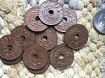10 Pcs 1930-40's Vintage Indonesian Copper 1 Cent Coins with Hole Charms or Pendants