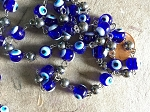 ONE METER Lampwork Blue Evil Eye Glass Beads Beaded Rosary Chain with Silver Balls and Links