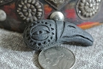 Large Black Ceramic Crow or Raven HEAD Bead