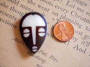 Smaller 38mm Batik Bone Tribal Mask Pendant