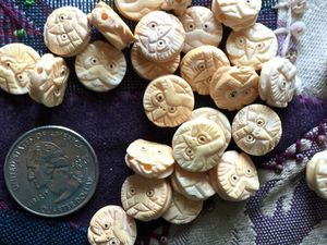 Miniature Handcarved Ox Bone Owl Coin Beads 13mm (0.5 inch)
