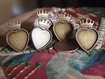 FIVE Adjustable Antique Bronze Crowned Heart Tray Bezel Ring Base Findings