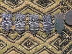 Five 38mm Antique Silver Owl Links or Pendants