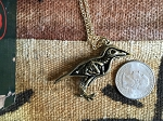 Brass-plated Raven or Crow Skeletal Body Pendant