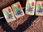 10 ANTIQUED Small Bone Mah Jong Tile Beads - Flower Suit - Side Drilled