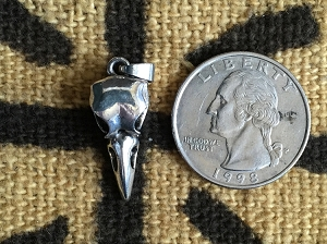 Tiny 20MM Silvertone  Raven or Crow Skull Charm