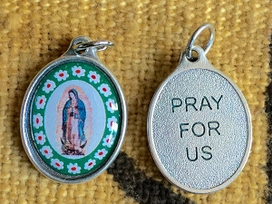 26mm Guadalupe Saint Medal with Flowers