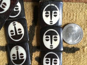Larger African Mask Batik Bone Beads Ivory on Ebony