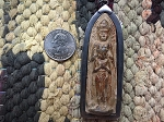Large Standing DOUBLE Buddha Metal-Framed Amulet with Hanging Loop