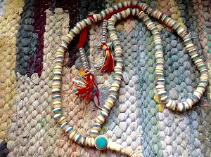 108 Tibetan white bone mala 8X9mm rondelle beads with inlays