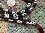 108 Carved 8x12mm Dyed Black & White Bone Skull Bead Mala