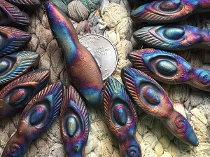 Iridescent Clay Ceramic Matte Raku Winged Goddess Pendant
