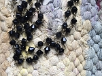 ONE METER Black Bicone Glass Beads Beaded Rosary Chain with Antique Bronze Links