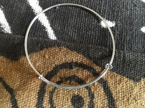 Adjustable Silvertone Bangle Add-A-Charm Bracelet