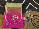 DIY Adjustable Silvertone Bangle Add-A-Charm Adinkra Bracelet Kit