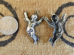 Cherub Pendant or Charm with Uplifted Arms - CHOOSE Silvertone or Brasstone