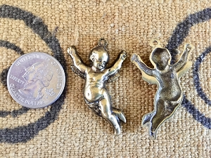 Cherub Charm with Uplifted Arms - CHOOSE Silvertone or Brasstone