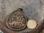 Extra-Large 10 Seated Teardrop Buddha Metal-Framed Amulet with Hanging Loop