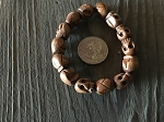 11x13mm SMALLER Medium Brown Wood Skull Bead Bracelet