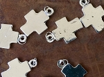 5 Pieces Rustic Bright Silver Metal Alloy Cross Charms