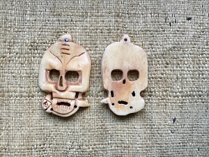 Large 50mm Handcarved Bone Skull with Rose Pendant
