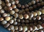 Antique Jade Carved Round Beads 10mm Earthtones