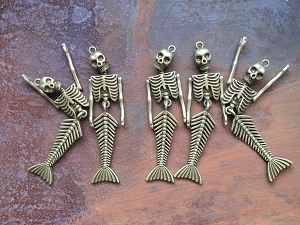 5 Pcs Articulated Antique Bronze Mermaid Skeleton Pendants