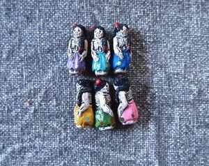 Tiny Ceramic Day of the Dead Lady Skeleton Bead