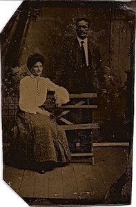 Vintage Tintype Husband and Wife wth Bench