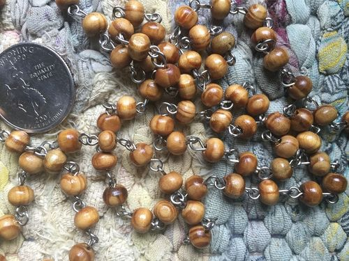 ONE METER Wood Beaded Rosary Chain with Silver Links