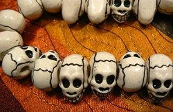 Porcelain Ceramic White Skull Beads with Markings