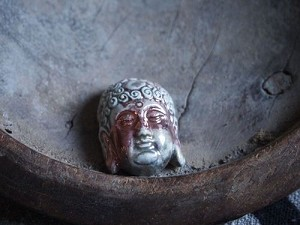 Ceramic:  Raku Buddha Head Bead