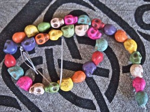 10x13mm Mixed Color Howlite Skull Bead Strand