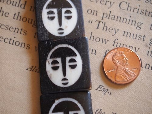 Smaller 20x20 African Mask Batik Bone Beads Ivory on Ebony