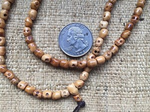 108 antique carved bone mala 5x6mm skull beads