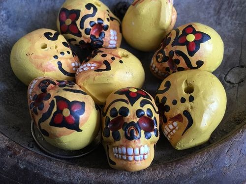 Large YELLOW Painted Day of the Dead Skull Bead