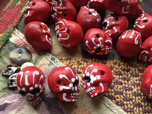 Large RED Painted Day of the Dead Skull Bead
