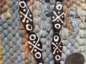 Flat Diamond Batik Bone Bead Strand